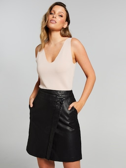 Faux Leather Mock Wrap Skirt