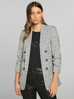 Mi Amour Check Me Button Blazer