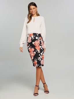 Daisy Floral Pencil Skirt