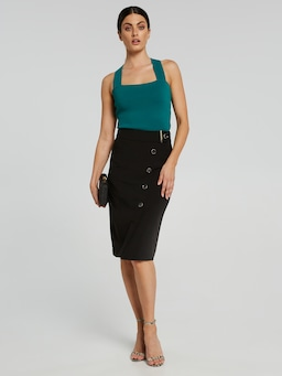 The Contract Button Pencil Skirt