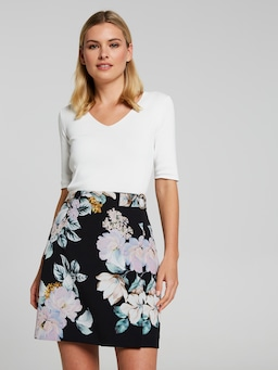 See To It Printed A-Line Skirt