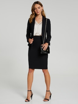 Above Board Navy Suit Skirt