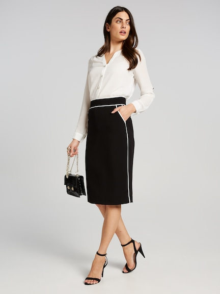 Benchmark Piped Pencil Skirt