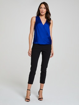 Sasha Sleeveless Satin Wrap Top