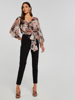 Monique Pleat Sleeve Wrap Top