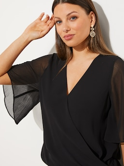 Sheer Sleeve Wrap Top