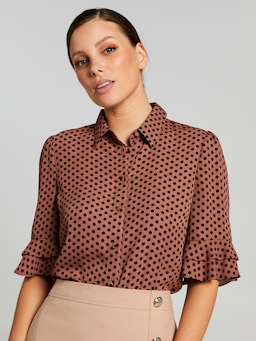 Kayla 3/4 Button Up Printed Top