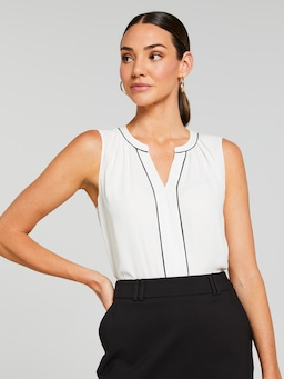Contrast Piping Sleeveless Shirt