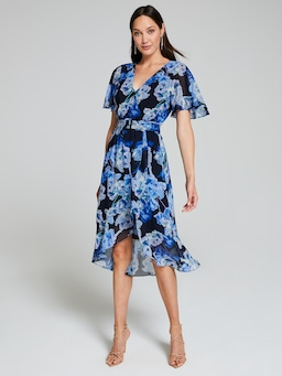 Marika Belted Flutter Sleeve Midi Dress