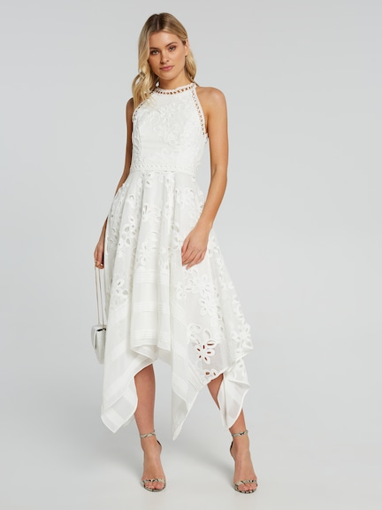 Mia Spliced Hanky Hem Lace Dress