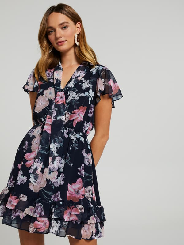 Bayley Button Tie Neck Dress